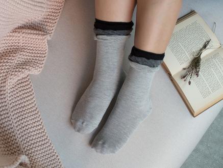 Fleur Kadın Soket Çorap - Gri