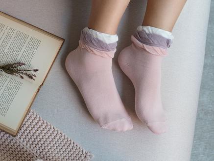 Fleur Kadın Soket Çorap - Pudra