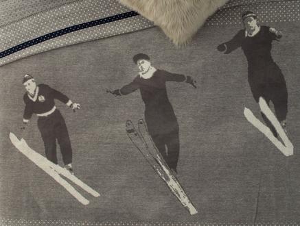 Skier Çift Kişilik Jakarlı Pamuklu Battaniye - Gri