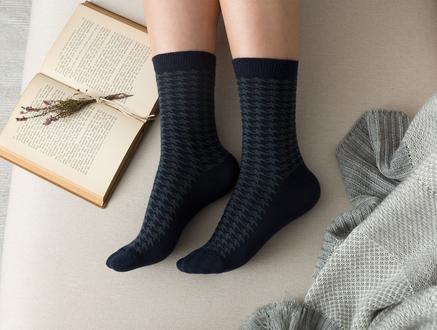 Pied De Poule Kadın Soket Çorap - Lacivert