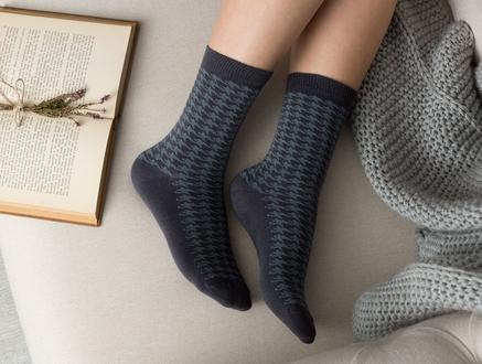Pied De Poule Kadın Soket Çorap - Antrasit