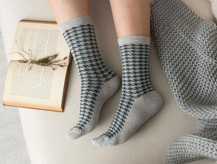 Pied De Poule Kadın Soket Çorap - Gri