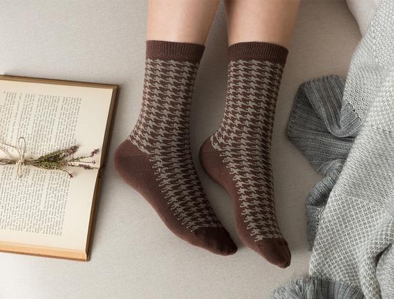 Pied De Poule Kadın Soket Çorap - Kahverengi