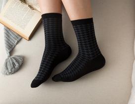 Pied De Poule Kadın Soket Çorap - Siyah