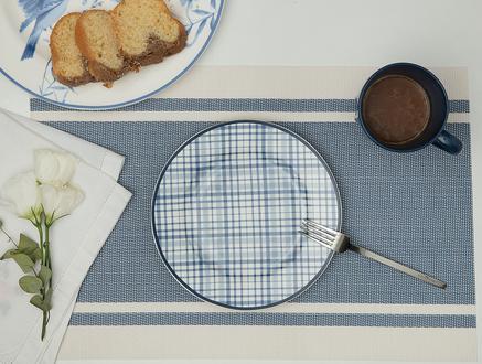 Ekose Pasta Tabağı - Mavi
