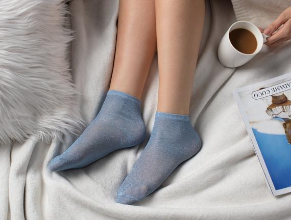 Bayan Simli Çorap - Mavi