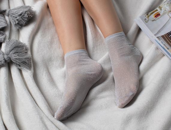 Bayan Simli Çorap - Gümüş