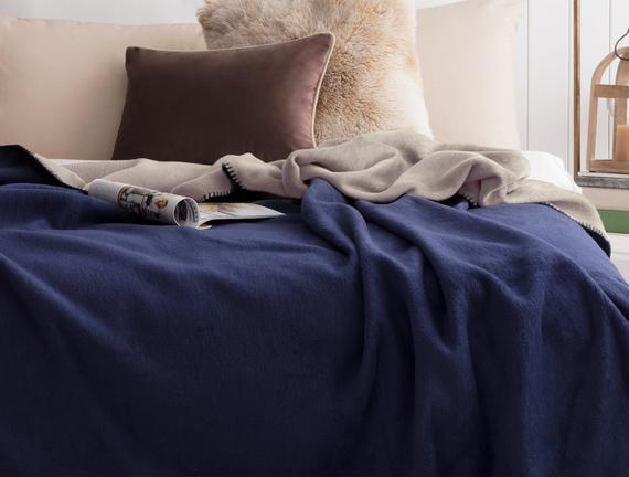 Arcadia Çift Taraflı Çift Kişilik Battaniye - Bej / Mavi