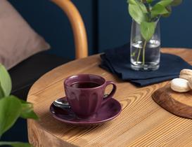 Leeroy 2'li Çay Fincan Takımı - Mürdüm