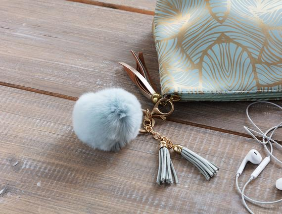 Tüylü Anahtarlık - Açık Mavi