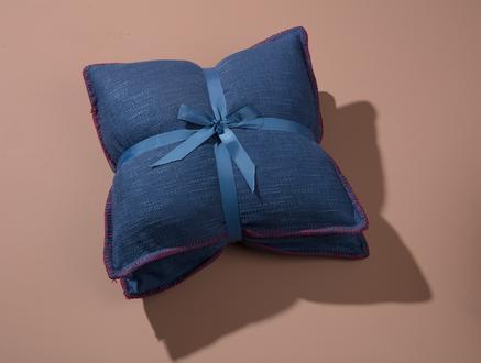 Saville Kaz Tüyü İkili Kırlent Set - Indigo - 45x45 cm
