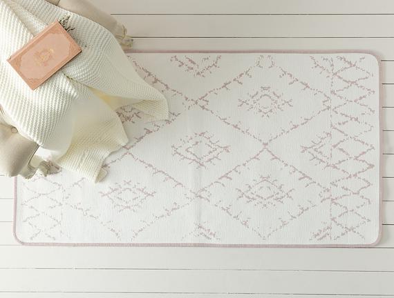 Saville Çift Taraflı Şönil Kilim - Mürdüm / Beyaz - 80x120 cm