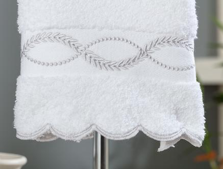 Agatha Nakışlı El Havlusu - Beyaz