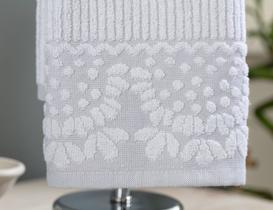 Tiny Bordürü Jakarlı El Havlusu - Gri / Beyaz