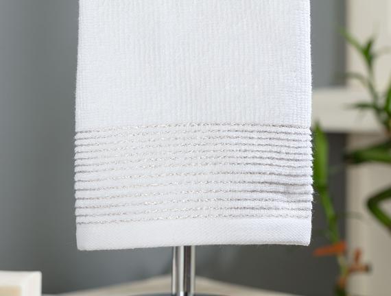 Orient Lurexli El Havlusu - Beyaz - 30x46 cm