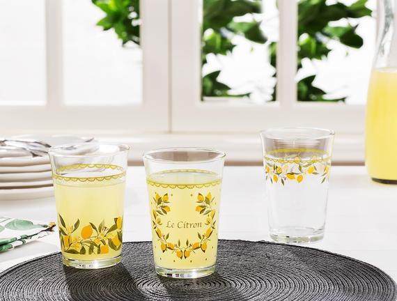 Limon Baskılı 3'lü Su Bardağı Seti 290 ml