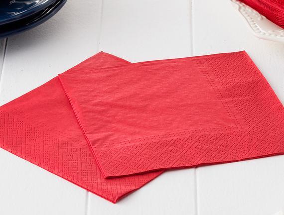Kırmızı Renk Düz Peçete - Kare
