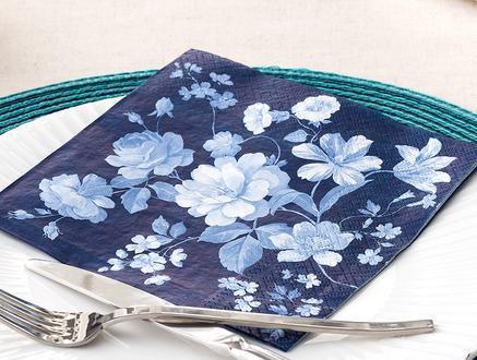 Lacivert Çiçek Desenli Peçete - Kare