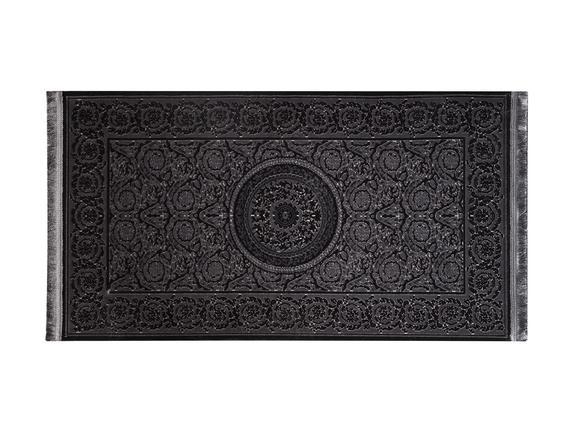 Lotus Shinny Effect Saçaklı Kadife Halı - Antrasit - 80x140 cm