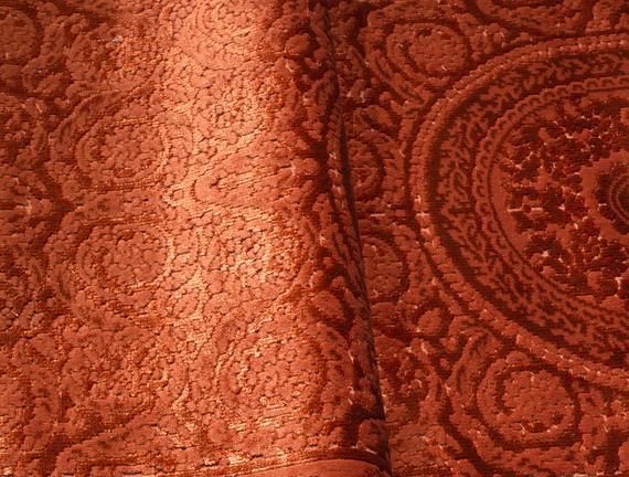 Lotus Shinny Effect Kadife Halı - Kiremit  - 80x140 cm