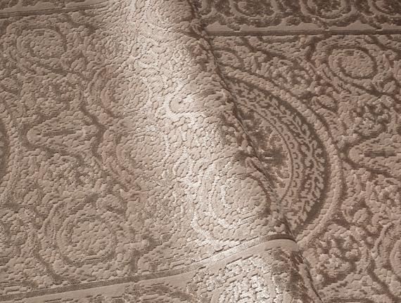 Lotus Shinny Effect Saçaklı Kadife Halı - Bej - 80x140 cm