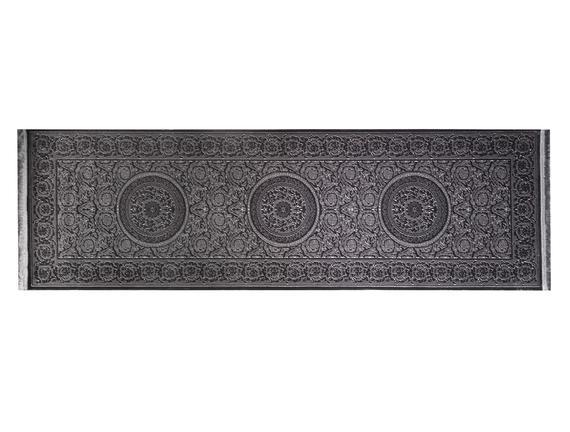 Lotus Shinny Effect Saçaklı Kadife Halı - Antrasit
