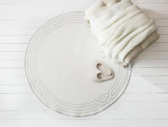 Egebella Çift Taraflı Şönil Kilim - Gri / Beyaz