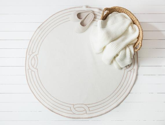Egebella Çift Taraflı Şönil Kilim - Pudra / Beyaz