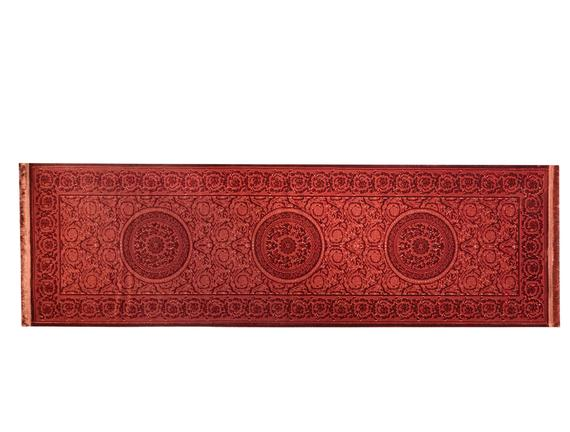 Lotus Shinny Effect Saçaklı Kadife Halı - Kiremit - 80x250 cm