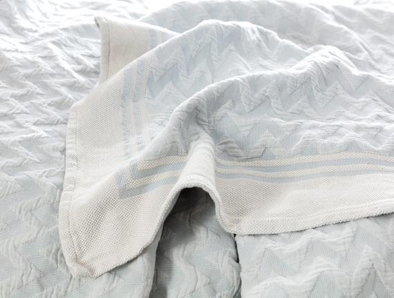 Evelyn Çift Kişilik Yatak Örtüsü - Mavi