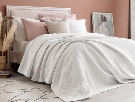 Eugenia King Size Yatak Örtüsü - Beyaz