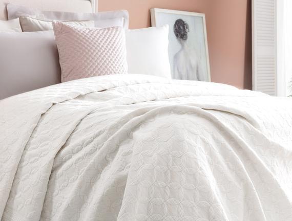 Eliane King Size Yatak Örtüsü - Beyaz