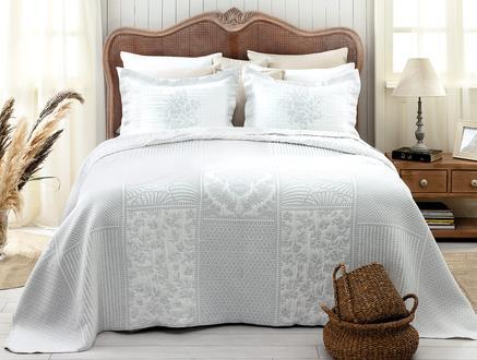 Fayette Çift Kişilik Yatak Örtüsü - Beyaz / Gri