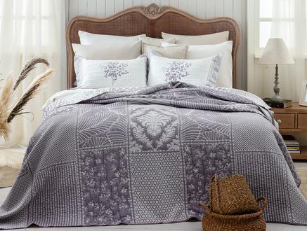 Fayette King Size Yatak Örtüsü - Mürdüm / Beyaz