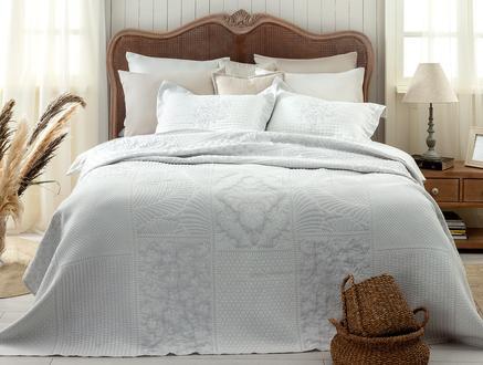 Fayette King Size Yatak Örtüsü - Beyaz / Gri