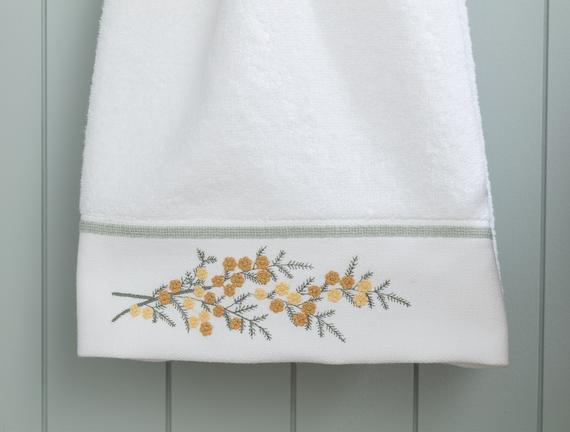 Pansy Nakışlı Yüz Havlusu - Beyaz - 50x80 cm