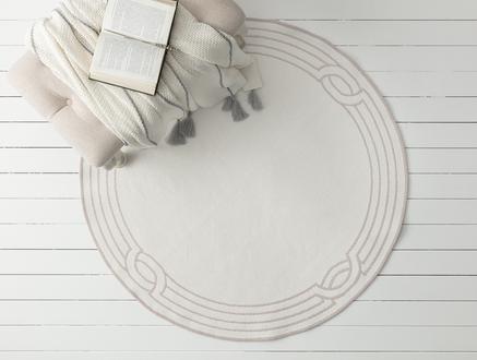 Egebella Çift Taraflı Şönil Kilim - Mürdüm / Beyaz