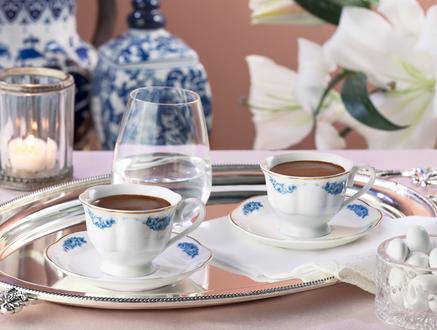 Le Rêve Bleu 4'lü Yuvarlak Kahve Fincan Takımı