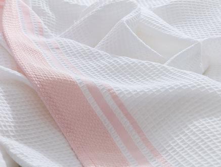 Aliana Çift Kişilik Pike - Beyaz / Pudra