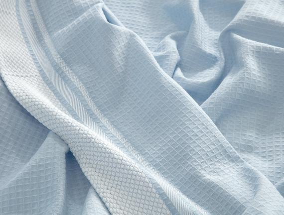 Aliana Çift Kişilik Pike - Mavi / Beyaz