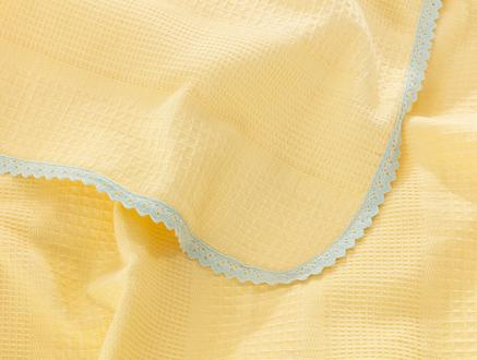Gauthier Çift Kişilik Dantelli Pike - Sarı / Mint