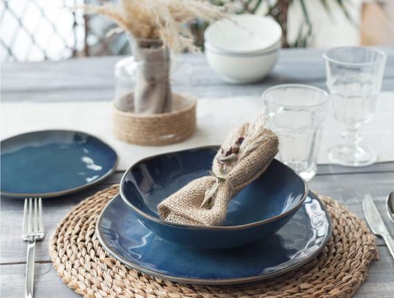 Bleu Infini 2 Kişilik Yemek Takımı - Mavi