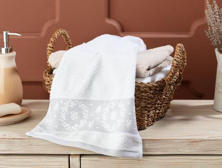 Chambre Bordürü Jakarlı El Havlusu - Beyaz / Gri