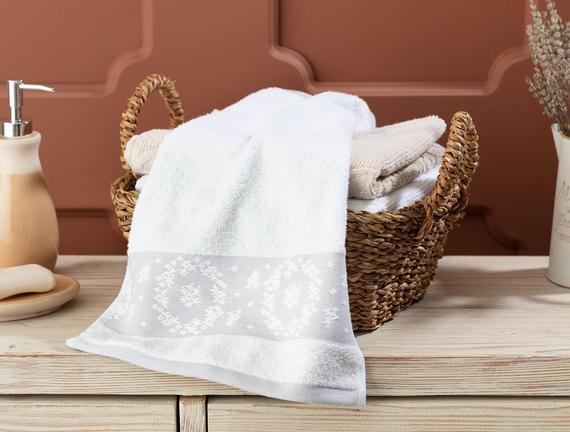 Chambre Bordürü Jakarlı El Havlusu - Beyaz / Gri - 30x45 cm