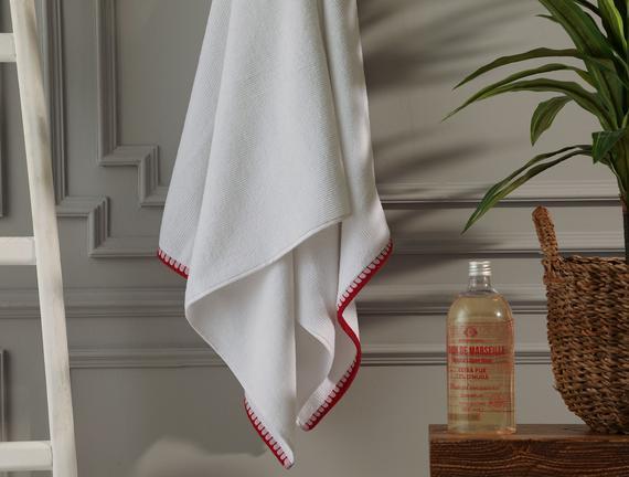 Aleon Banyo Havlusu - Beyaz / Bordo