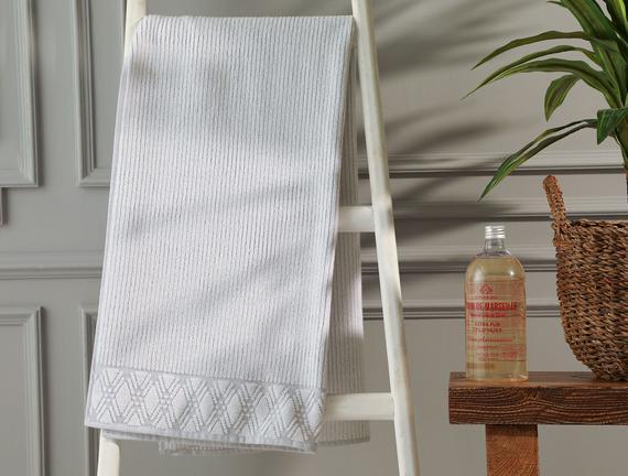 Stripe Banyo Havlusu - Gri - 70x140 cm