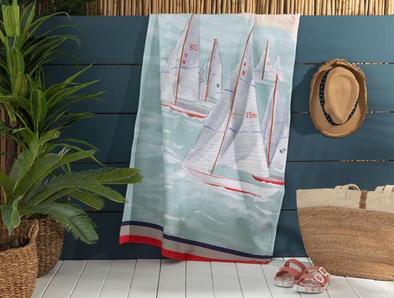 Azur Baskılı Kadife Plaj Havlusu - 75x150 cm