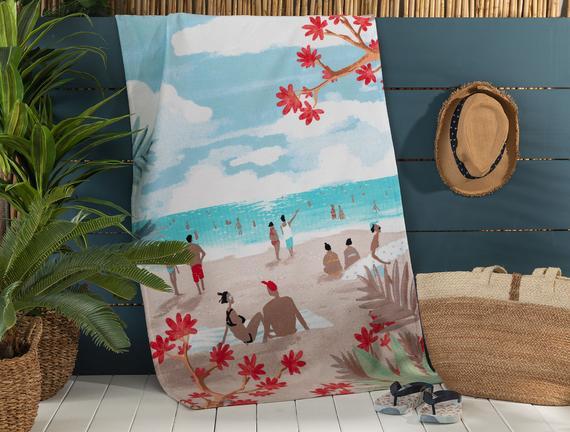 Saleccia Baskılı Kadife Plaj Havlusu - 75x150 cm