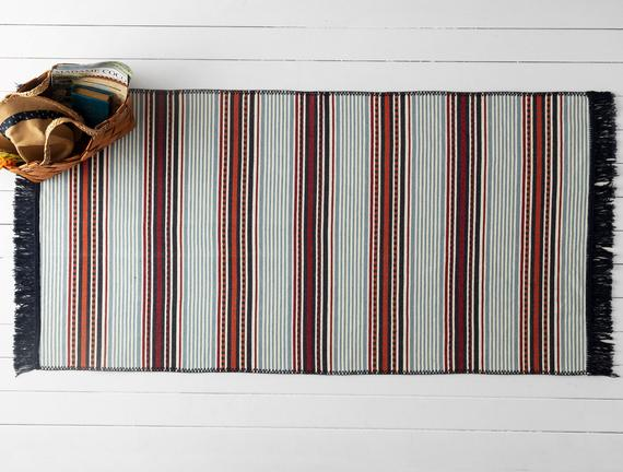 Curtice Saçaklı Dokuma Kilim - Renkli - 80x150cm