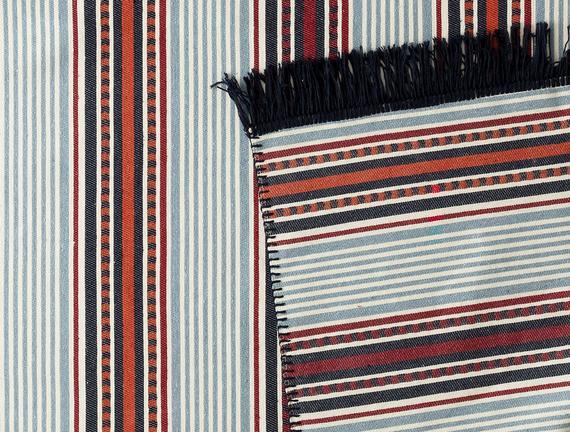 Curtice Saçaklı Dokuma Kilim - Renkli - 120x180cm